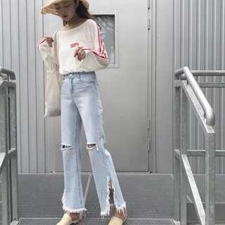 Celana boyfriend jeans high waist