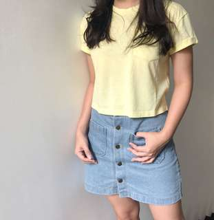 Yellow Crop top hnm divided basic