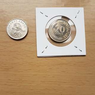 1st & 2nd series  1985 20 cts coins