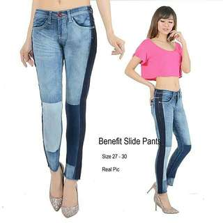 BC R Benefit Slide Jeans CELANA PANJANG BAHAN JEANS STRETCH,HALUS, KOMBINASI LIST SAMPING DAN PATCH BEDA KIRI KANAN. SIZE 27-30. REAL PIC