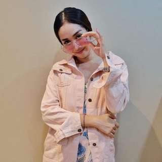 Real Pict Pemakaian Zara Jacket Oversized Pink
