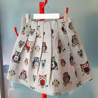 Owl Print Stretchable Skirt
