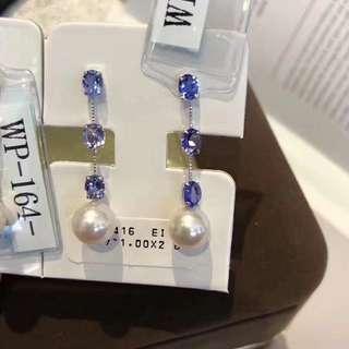 正式開工優惠第一波 8-8.5mm極光小燈泡Akoya 2克拉坦桑石耳環 18K platinum 💰💰超值價發售,歡迎咨詢訂購😊