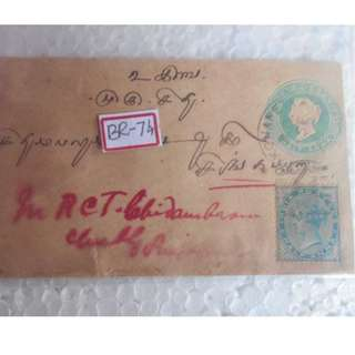 QUEEN VICTORIA - 1901 - vintage Post Card / Pre-Stamped Cover / Embossed Cover / Postal History  -> SINGAPORE - Address in Tamil /  English - British India - br74