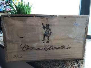 chateau armailhac 2012 red wine wood box - 6 bottle size
