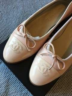 Chanel Beige Lambskin Ballet Flats 37.5