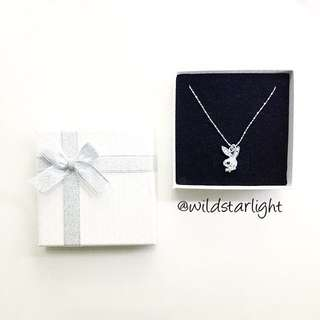 BLING CRYSTAL RABBIT PLAYBOY LOGO SILVER NECKLACE
