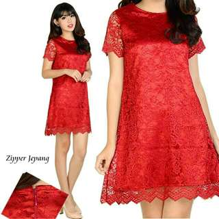 Elza Mini Dress/Full Brukat/Fit S to L/Merah