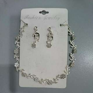 Artificial Bridal Wedding Necklace Earrings