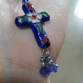 包郵特價 藍色十字架手機繩