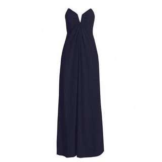 Zimmermann Silk V Long Dress French Navy Formal Maxi