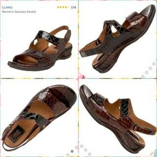 20% OFF BN Clarks Sarasota Sandal Dark Brown Croc Size US 8 XW