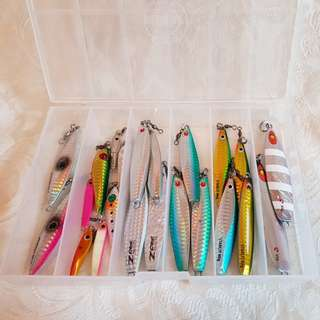 BOX OF 22PCS JIGS FOR MICRO & LIGHT JIGGING FROM VARIOUS BRANDS.