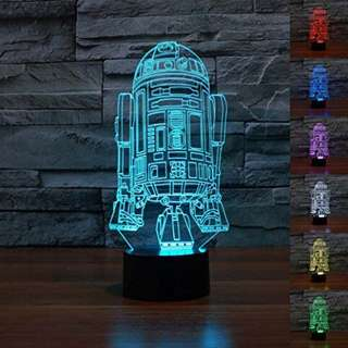 SmartEra® Star Wars 3D Force Awaken Robot R2-D2 & Master Yoda, 7 Color Change USB Touch Button LED Desk Light