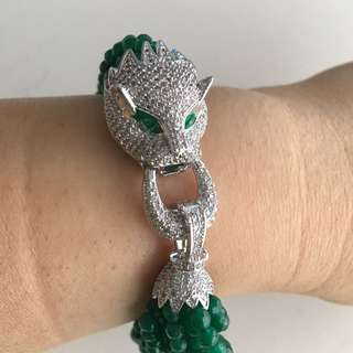 🌹🌹SALE!! Green agate panther head bracelet