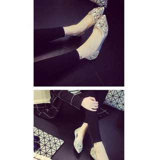 Europe Rhinestones Pointy Flat shoes - Silver