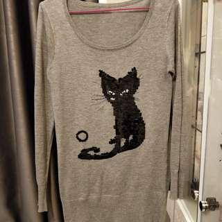 二手貓咪毛料長袖上衣
