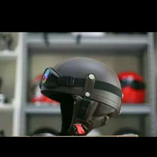 Helmet retro chip half head leather