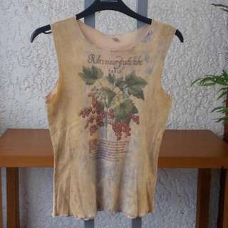 Sleeveless Tee Ladies Small With Red Currant Plant Art Design