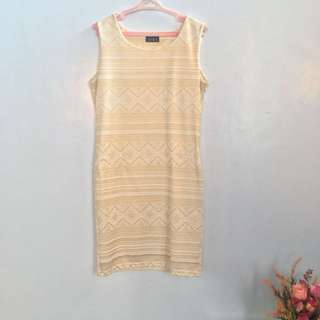 Bodycon Dress (cream w/ Gold detail)