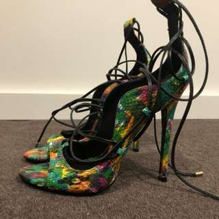 Lust for Life Snake Multi Colour Strappy Heels Stiletto Mardi Gras