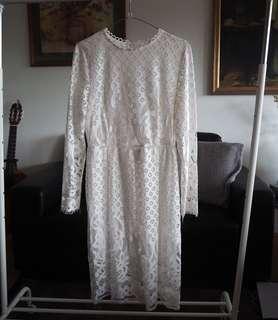White lace midi dress size 10