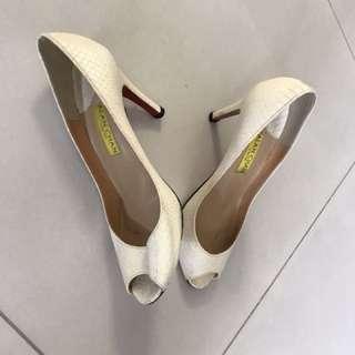 Tailor made Louboutin style white crocodile skin peek-toe