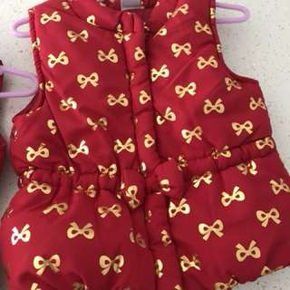 BN (USA direct) Red CNY winter puffy vest with fold ribbons