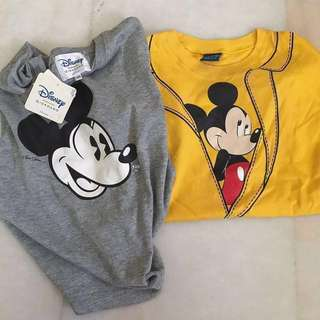 NEW 2 Giordano Disney Mickey Kids Shirts both set