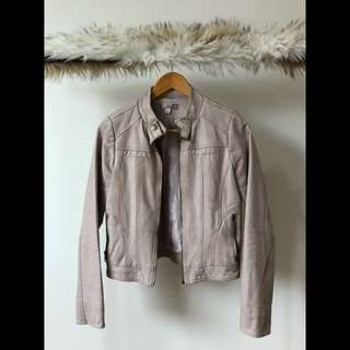 PALE PINK Faux Leather Jacket