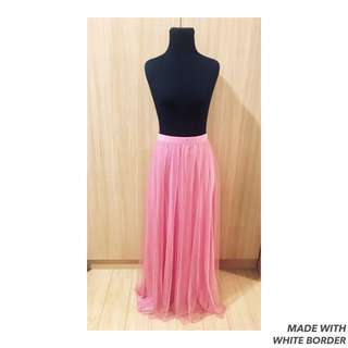 Pink Ruffled Maxi Skirt
