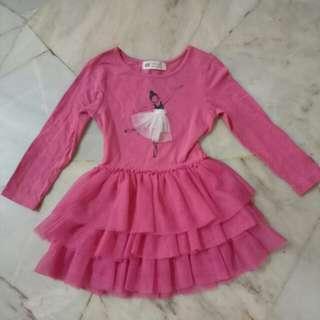 H&M pink dress 1-2y