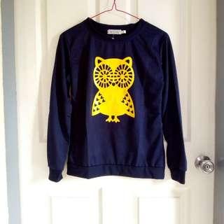 Owl Dark blue long sleeves