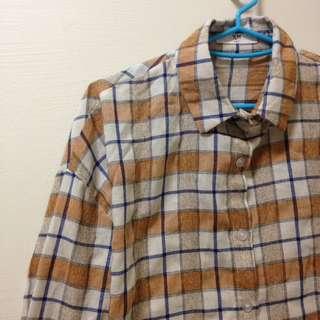 全新✨薄款復古橘咖格紋襯衫