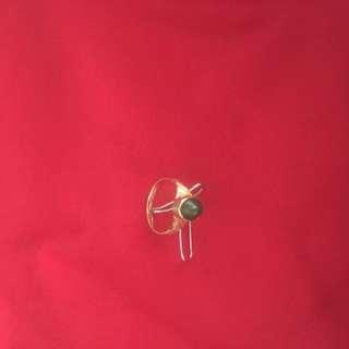 Gold Ring with dark green stone (Feroz)