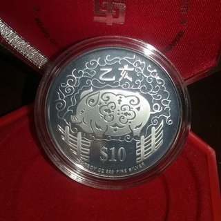 1995 $10 Silver Piedfort Proof Coin for year of Boar