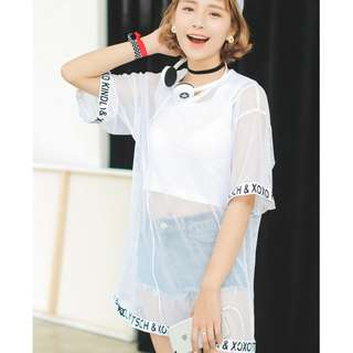 Two Piece Set Sexy Korean Ulzzang Oversized Mesh Letters Top