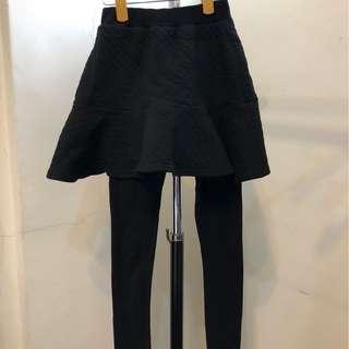 韓國 衣服日記 壓紋荷葉傘裙 厚料內搭褲裙 韓製