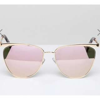 Reflective Lens (Green tone) Cat Eye Sunglasses