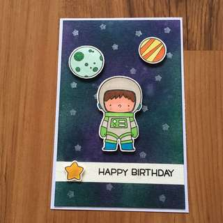 Handmade birthday card (Astronaut in space with planets)