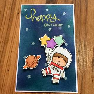Handmade birthday card (Astronaut boy in space)