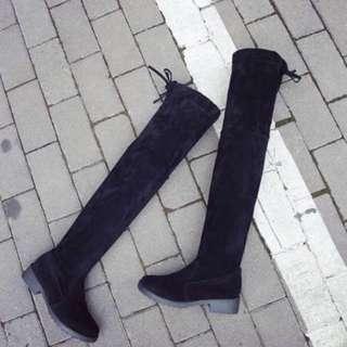 Black Thigh Suede Boots Ladies