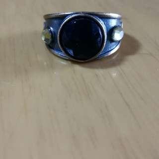 復古風銅色綠色閃石戒指/介指/指環