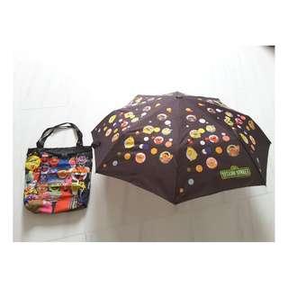 Sesame Street characters umbrella plus a matching bag