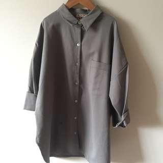 【abovelife】灰色大衣七分袖外套襯衫