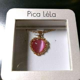 Pica Lela pink coral necklace 粉紅色心型頸鍊 charm