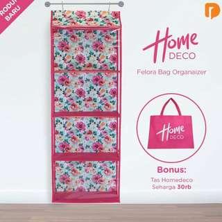 Homedeco Felora Bag Organizer, terdiri dari : 1 Pcs Bag Organizer 4 Susun BONUS: 1 Tas Puring Homedeco Dilengkapi dengan 2 Huk, untuk menggantung