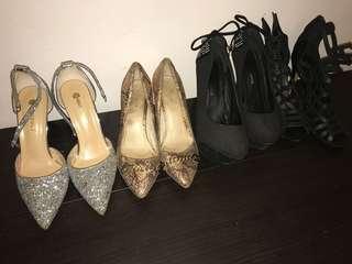 Black, silver & Bronze ladies shoes