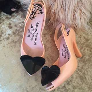 Melissa x Vivienne Westwood Pink Black Heart jelly high heel