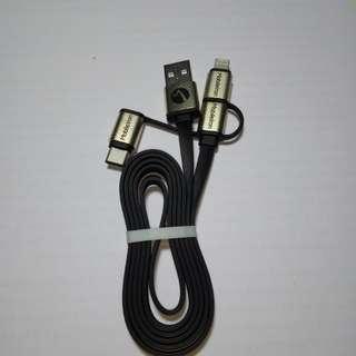 🆕USB Type-C, iOS lightning & micro USB cable 三合一